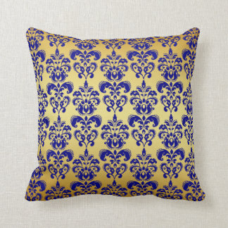 Gold, Navy Blue Damask Pattern 2 Cushion