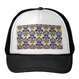 Gold Navy Blue Damask Pattern 2 Trucker Hat