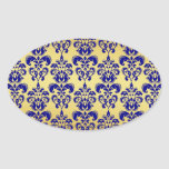 Gold, Navy Blue Damask Pattern 2 Sticker