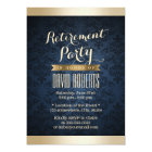 Gold & Navy Blue Damask Pattern Retirement Party Card