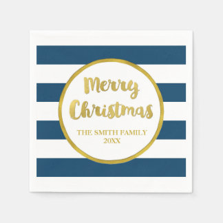Gold Navy Blue Stripes Merry Christmas Napkin Paper Napkins