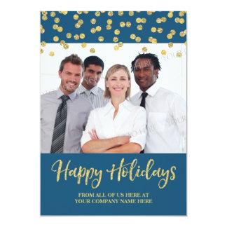 Gold Navy Business Christmas Photo Card Confetti 13 Cm X 18 Cm Invitation Card