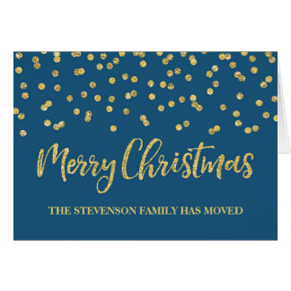 Gold Navy Confetti Merry Christmas New Address Card