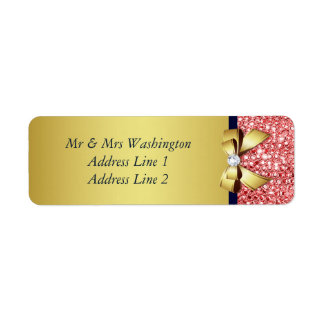 Gold Navy Coral Sequins Diamonds Bow Return Address Label