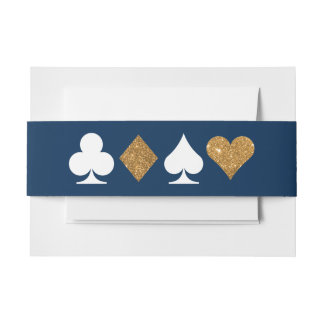 Gold Navy Las Vegas Wedding Invitation Belly Band