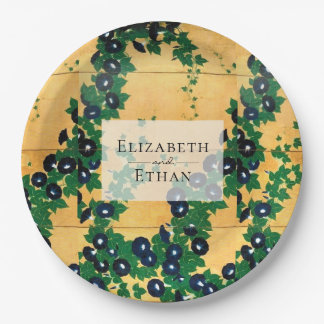 Gold Navy Morning Glories Wedding Paper Plate