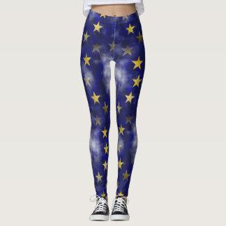 Gold & Navy Star Leggings