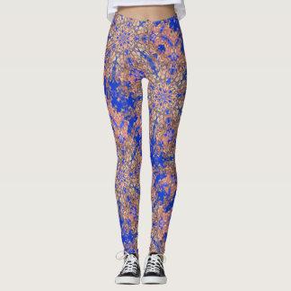 gold nebula stars cosmic swirl blue leggings