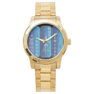"Gold ""New York, Paris, London"" Ladies Watch"