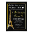 Gold Night in Paris Sweet 16 Custom Invitation