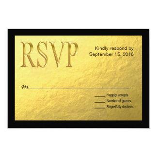 Gold Nugget Faux Foil with Black Outline RSVP 3.5x5 Paper Invitation Card