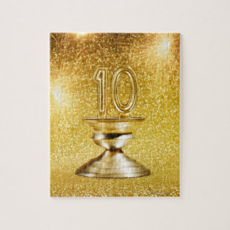 Gold Number 10 Trophy Jigsaw Puzzle