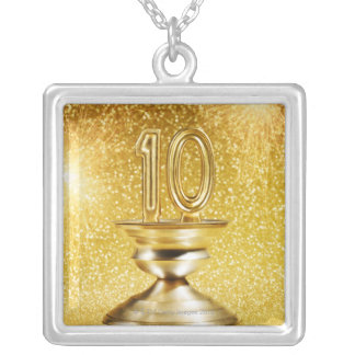 Gold Number 10 Trophy Square Pendant Necklace