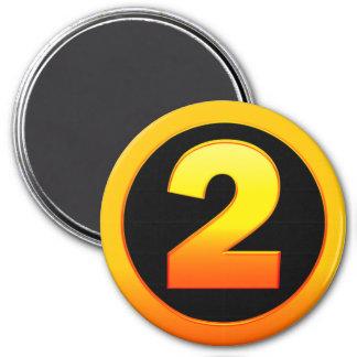 Gold Number 2 7.5 Cm Round Magnet