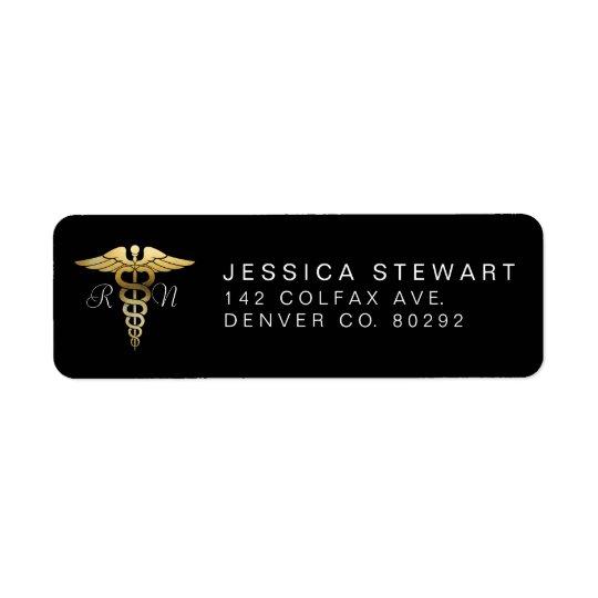 Gold Nursing Symbol   Custom Label