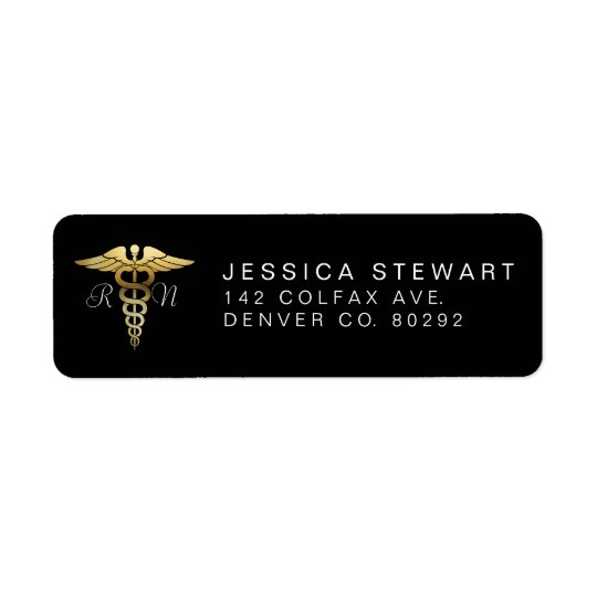 Gold Nursing Symbol | Custom Label Return Address Label