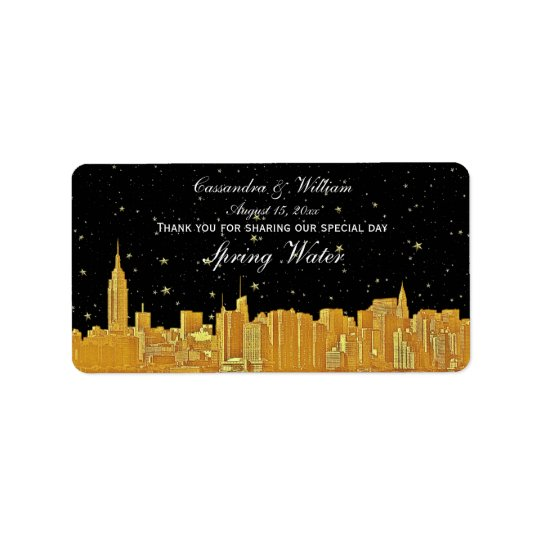 Gold NYC Etched Starry Skyline Water Bottle Label Address Label