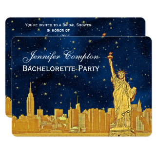 Gold NYC Skyline #2 Blue Starry BG H Bridal Shower Card