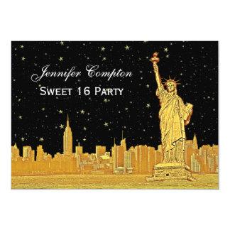 Gold NYC Skyline #2 Etch Starry DIY BG H Sweet 16 Card