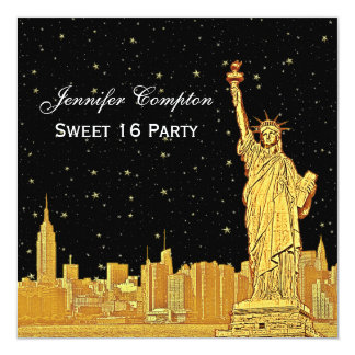Gold NYC Skyline #2 Etch Starry DIY BG SQ Sweet 16 13 Cm X 13 Cm Square Invitation Card