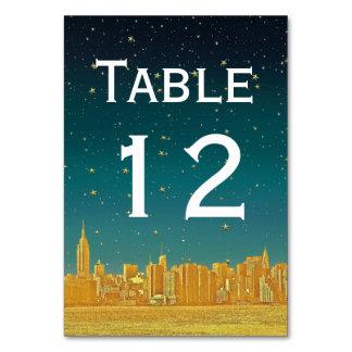 Gold NYC Wide Skyline Etch Dusk Starry DIY BG Table Cards