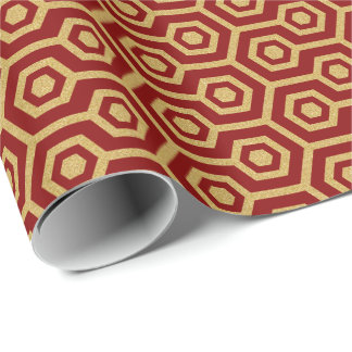 Gold Octagonal Pattern On Dark Red Background Wrapping Paper