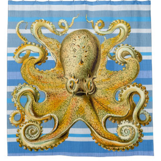 Gold Octopus  Blue white stripe  Shower curtain