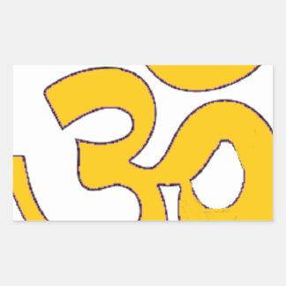 gold om aum sanskrit mantra ,symbol ,Shape of Aum Rectangular Sticker