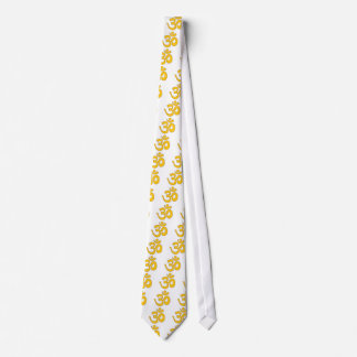 gold om aum sanskrit mantra ,symbol ,Shape of Aum Tie