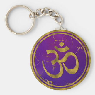 Gold OM symbol - Aum, Omkara  on Purple/Indigo Key Ring