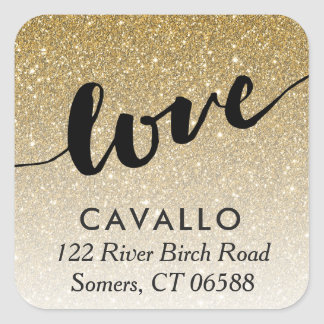 Gold Omber Glitter Love Address Envelope Seal