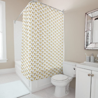 Gold Ombre Hearts Shower Curtain