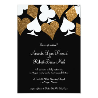 Gold on Black Las Vegas Wedding Invitation