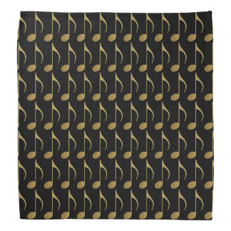 gold on black music notes pattern bandana
