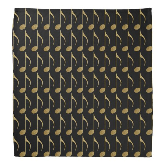 gold on black music notes pattern bandana