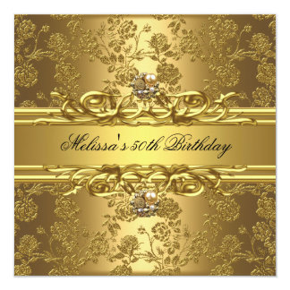 Gold On Gold 50th Birthday Party Jewels Floral Card