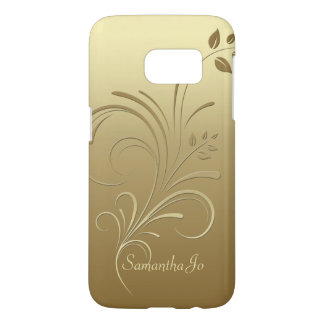 Gold on Gold Floral Swirls Monogram case
