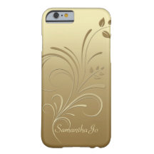 Gold on Gold Floral Swirls Monogram iPhone 6 case Barely There iPhone 6 Case