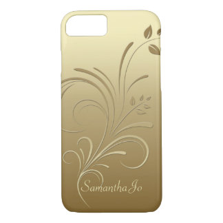 Gold on Gold Floral Swirls Monogram iPhone 7 case