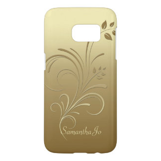 Gold on Gold Floral Swirls Monogram Samsung S7