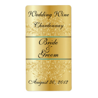 Gold on Gold  Wedding Wine Label