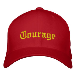 Gold on Red Courage Embroidered Cap