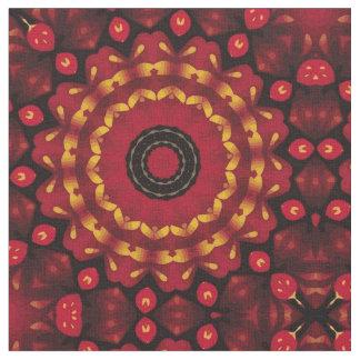 Gold On Red Mandala Fabric