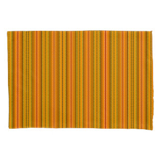 Gold, Orange, Black Decorated Stripes Pillowcases
