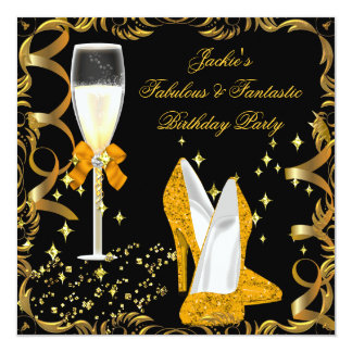 Gold Orange Black Women's Birthday Party 13 Cm X 13 Cm Square Invitation Card