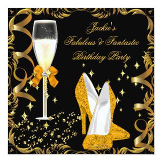 Gold Orange Black Women's Birthday Party 5.25x5.25 Square Paper Invitation Card