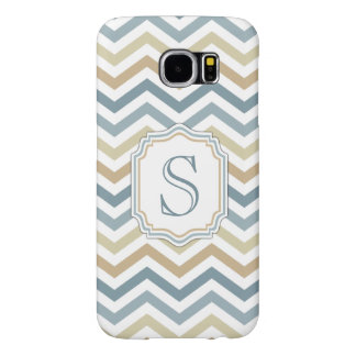 Gold/Orange/Blue Chevron Monogram Samsung Galaxy S6 Cases