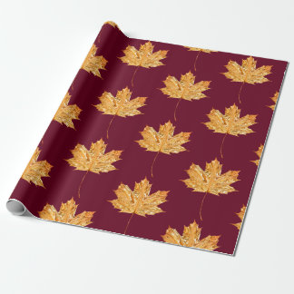Gold Orange Burgundy MAPLE LEAF Birthday Wedding Wrapping Paper