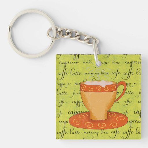 Gold Orange Coffee Art on Lime Green Script Words Acrylic Key Chains