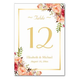 Gold Orange Rose Floral Chic Wedding Table Number